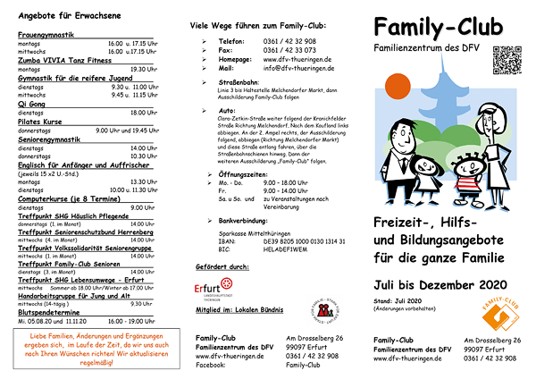 Family-Club - Halbjahresprogramm 2. HJ 2020