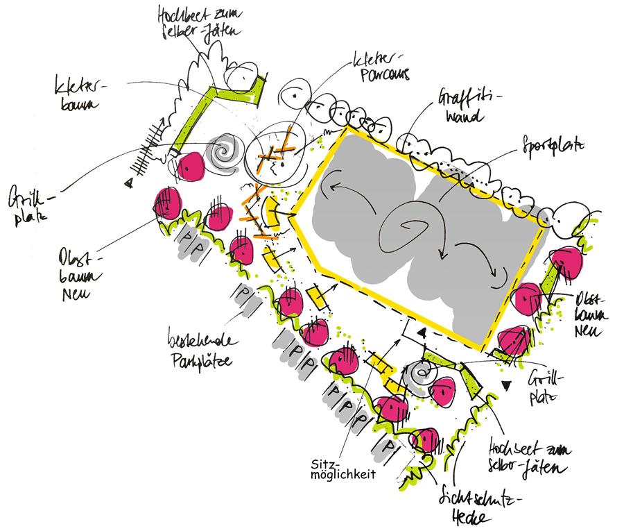 Ideenskizze zur Freiflächengestaltung Bolzplatz Körnerstraße in Erfurt-Südost
