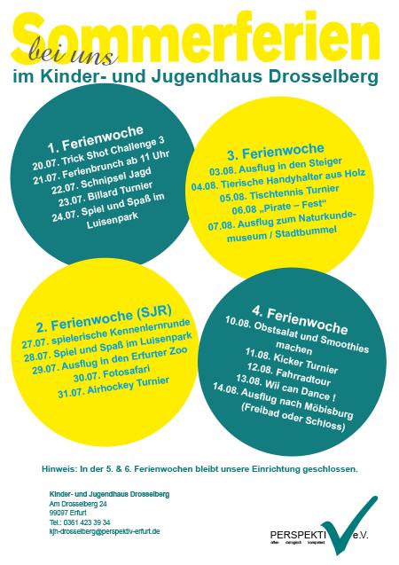Sommerferien 2020 im Kinder- und Jugendhaus Drosselberg in Erfurt-Südost