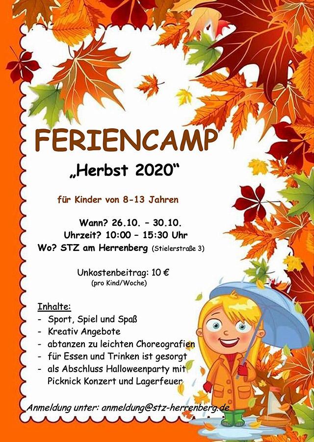 """Feriencamp """"Herbst 2020"""" im STZ am Herrenberg - für Kinder von 8-13 Jahren"""