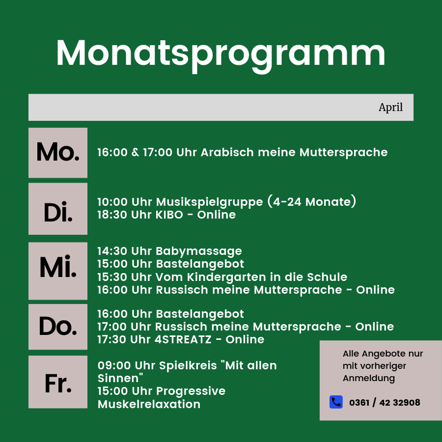 Monatsprogramm des Family Club - April 2021 - Erfurt Südost