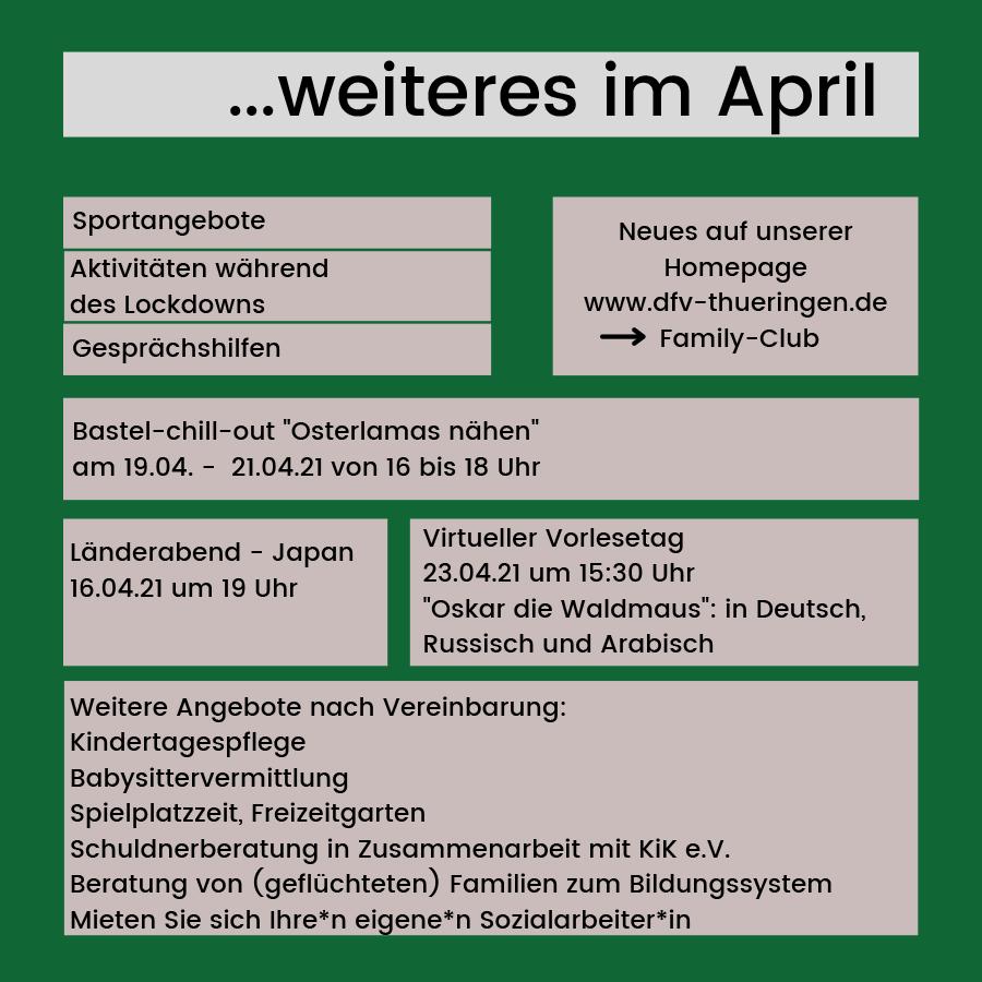 Weitere Angebote des Family Club - April 2021 - Erfurt Südost