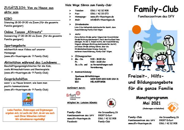 Family-Club - Monatsprogramm Mai 2021