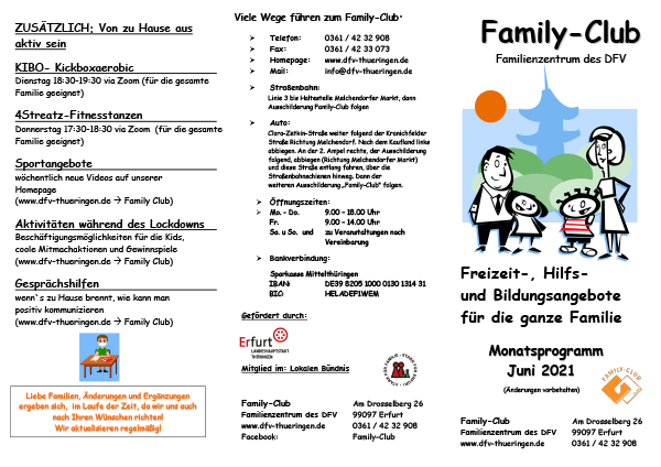 Family-Club - Monatsprogramm Juni 2021