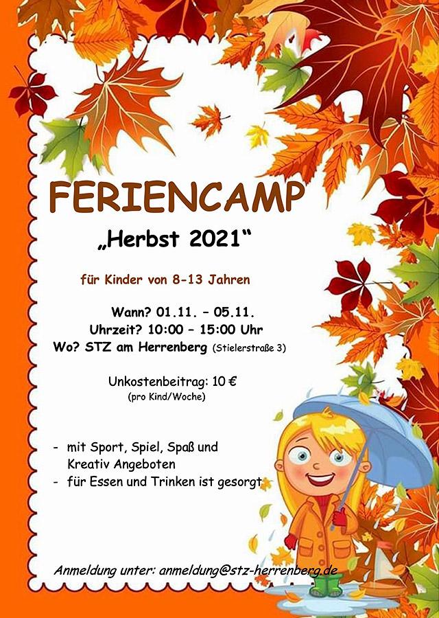 """Feriencamp """"Herbst 2021"""" im STZ am Herrenberg - für Kinder von 8-13 Jahren"""